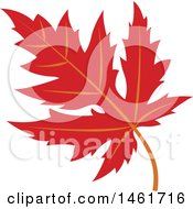 Clipart Of A Red Autumn Maple Leaf Royalty Free Vector Illustration by Cherie Reve