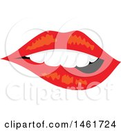 Poster, Art Print Of Womans Mouth With Teeth Biting Red Lips