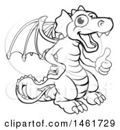 Clipart Of A Black And White Dragon Giving A Thumb Up Royalty Free Vector Illustration