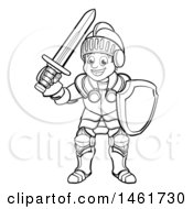 Clipart Of A Black And White Happy Knight In Full Armour Royalty Free Vector Illustration