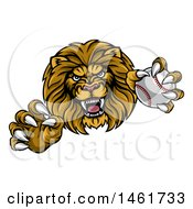 Clipart Of A Tough Male Lion Head Mascot Holding A Baseball Royalty Free Vector Illustration