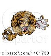 Poster, Art Print Of Tough Male Lion Head Mascot Holding A Baseball