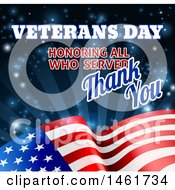 Clipart Of A 3d Waving American Flag With Veterans Day Honoring All Who Served Thank You Text And Blue Sparkles And Rays Royalty Free Vector Illustration