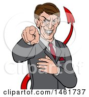 Clipart Of A Cartoon Corrupt White Devil Businessman Pointing Outwards From The Waist Up Royalty Free Vector Illustration by AtStockIllustration