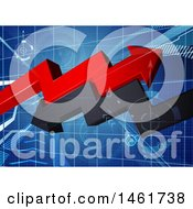 Poster, Art Print Of Blue Gride With 3d Red And Black Profit And Loss Arrows