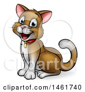 Cartoon Happy Brown Cat Sitting And Facing Left