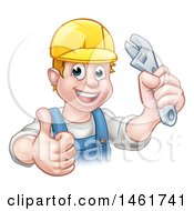 Poster, Art Print Of Cartoon Happy White Male Plumber Wearing A Hard Hat Holding An Adjustable Wrench And Giving A Thumb Up