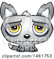 Clipart Of A Cartoon Sad Evil Wolf Royalty Free Vector Illustration by Cory Thoman