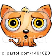 Clipart Of A Cartoon Surprised Evil Orange Cat Royalty Free Vector Illustration by Cory Thoman