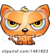 Clipart Of A Cartoon Mad Evil Orange Cat Royalty Free Vector Illustration
