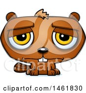 Clipart Of A Cartoon Sad Evil Beaver Royalty Free Vector Illustration by Cory Thoman