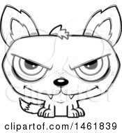 Clipart Of A Cartoon Outline Evil Wolf Royalty Free Vector Illustration by Cory Thoman