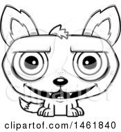 Clipart Of A Cartoon Outline Grinning Evil Wolf Royalty Free Vector Illustration by Cory Thoman