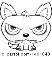Clipart Of A Cartoon Outline Mad Evil Wolf Royalty Free Vector Illustration by Cory Thoman