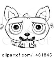 Clipart Of A Cartoon Outline Scared Evil Wolf Royalty Free Vector Illustration by Cory Thoman