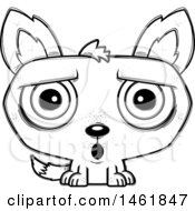 Clipart Of A Cartoon Outline Surprised Evil Wolf Royalty Free Vector Illustration by Cory Thoman