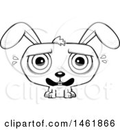 Cartoon Outline Scared Evil Bunny Rabbit