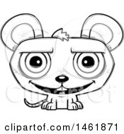 Clipart Of A Cartoon Lineart Grinning Evil Mouse Royalty Free Vector Illustration