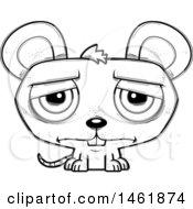 Cartoon Outline Sad Evil Mouse
