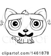 Clipart Of A Cartoon Lineart Scared Evil Cat Royalty Free Vector Illustration by Cory Thoman