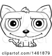 Clipart Of A Cartoon Lineart Happy Evil Cat Royalty Free Vector Illustration by Cory Thoman