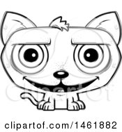 Clipart Of A Cartoon Lineart Grinning Evil Cat Royalty Free Vector Illustration by Cory Thoman