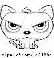 Clipart Of A Cartoon Lineart Mad Evil Cat Royalty Free Vector Illustration by Cory Thoman
