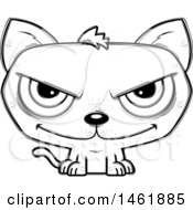 Clipart Of A Cartoon Lineart Evil Cat Royalty Free Vector Illustration by Cory Thoman