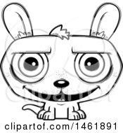 Cartoon Outline Grinning Evil Kangaroo