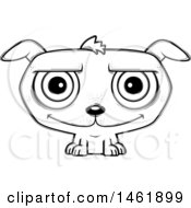 Clipart Of A Cartoon Lineart Happy Evil Puppy Dog Royalty Free Vector Illustration