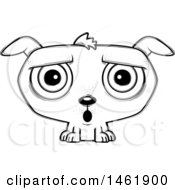 Clipart Of A Cartoon Lineart Surprised Evil Puppy Dog Royalty Free Vector Illustration