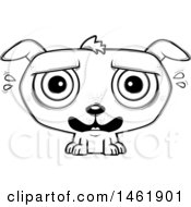 Clipart Of A Cartoon Lineart Scared Evil Puppy Dog Royalty Free Vector Illustration