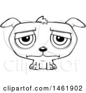 Clipart Of A Cartoon Lineart Sad Evil Puppy Dog Royalty Free Vector Illustration