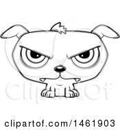 Clipart Of A Cartoon Lineart Mad Evil Puppy Dog Royalty Free Vector Illustration