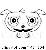 Clipart Of A Cartoon Lineart Grinning Evil Puppy Dog Royalty Free Vector Illustration