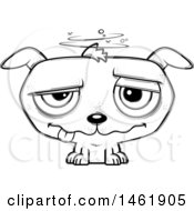 Clipart Of A Cartoon Lineart Evil Drunk Puppy Dog Royalty Free Vector Illustration