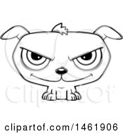 Clipart Of A Cartoon Lineart Evil Puppy Dog Royalty Free Vector Illustration