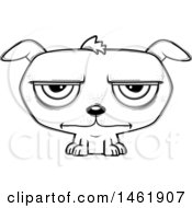 Clipart Of A Cartoon Lineart Bored Evil Puppy Dog Royalty Free Vector Illustration