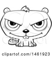 Clipart Of A Cartoon Lineart Evil Beaver Royalty Free Vector Illustration by Cory Thoman