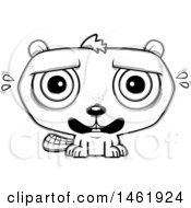 Clipart Of A Cartoon Lineart Scared Evil Beaver Royalty Free Vector Illustration by Cory Thoman