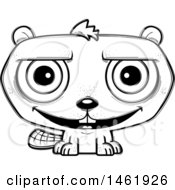 Clipart Of A Cartoon Lineart Happy Evil Beaver Royalty Free Vector Illustration by Cory Thoman