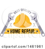Clipart Of A Hardhat Home Repair Design Royalty Free Vector Illustration
