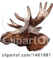 Clipart Of A Sketched Moose Head In Profile Royalty Free Vector Illustration
