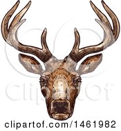 Clipart Of A Sketched Reindeer Head Royalty Free Vector Illustration
