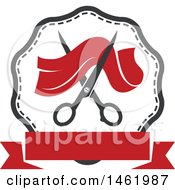 Clipart Of A Frame With Scissors And Cloth Royalty Free Vector Illustration