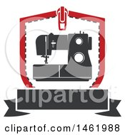 Clipart Of A Sewing Machine In A Zipper Shield Royalty Free Vector Illustration