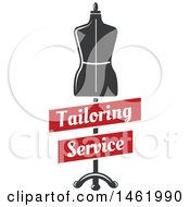 Clipart Of A Mannequin With Tailoring Service Banners Royalty Free Vector Illustration by Vector Tradition SM