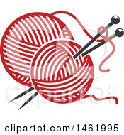 Clipart Of Red Balls Of Yarn And Needles Royalty Free Vector Illustration by Vector Tradition SM