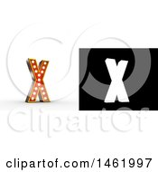 Clipart Of A 3d Illuminated Theater Styled Vintage Letter X With Alpha Map For Isolation Royalty Free Illustration