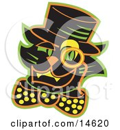 Black Cat Wearing A Hat And A Bow And A Monacle Over His Eye Clipart Illustration